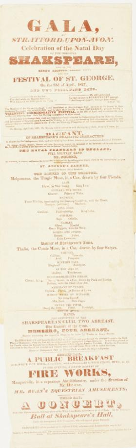 Playbill for a Gala at Stratford-Upon-Avon, April 23, 1827