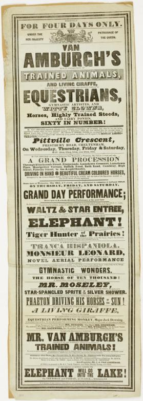 Playbill for Van Amburgh's Royal Collection of Trained Animals, Cheltenham. May 22-24, 1844