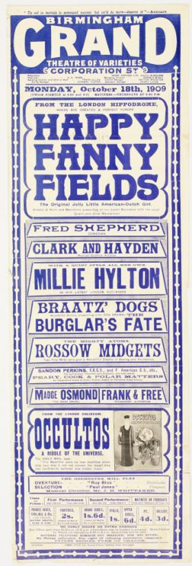 Playbill for Birmingham Grand Theatre of Varieties, October 18, 1909.