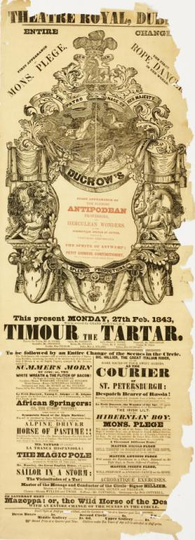 Playbill for Theatre Royal, Dublin. February 27, 1843