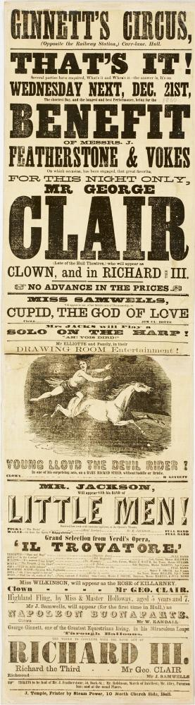 Playbill for Ginnett's Circus, Hull. December 21, 1860