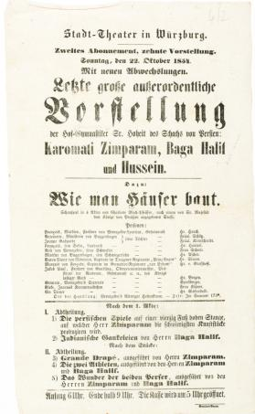 Stadt-Theater in Wurzburg. October 22, 1854