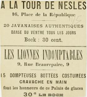 Advertisement for performance at Tour de Nesles, Paris. no date