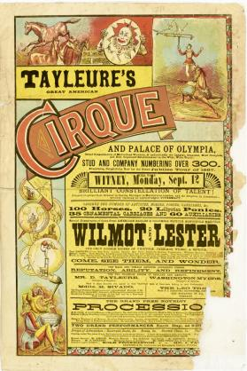 Tayleure's Great American Cirque and Palace of Olympia. Witney, England. September 12, c. 1883
