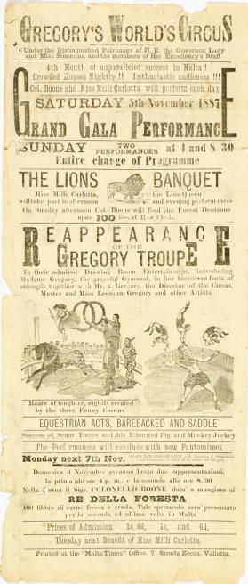 Gregory's World's Circus, November 5, 1887, Valletta, Malta