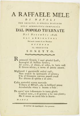 A Sonnet in honor of the Acrobat Raffaele Mele, November 1828, Citta di Castello, Italy