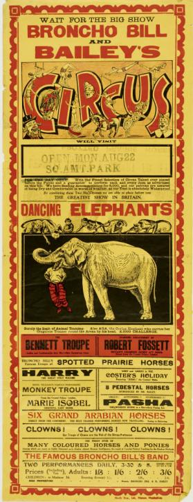 Playbill for Broncho Bill and Bailey's Circus. Birmingham, August 22, no year