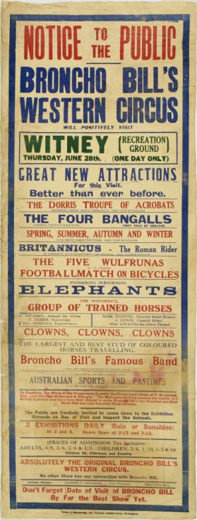Playbill for Broncho Bill's Western Circus, Witney. June 28, no year
