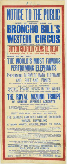 Playbill for Broncho Bill's Western Circus, Sutton Coldfield. October 31, 1922