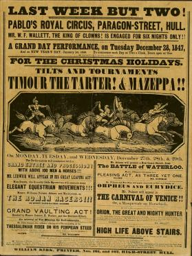 Playbill for Pablo's Royal Circus, Paragon-Street, Hull. December 28, 1847