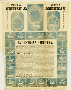 Advertisement for Price & North's British & American Equestrian Company, after 1841