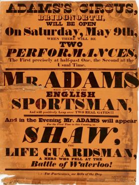 Adams's Circus, Bridgnorth, May 9, no year