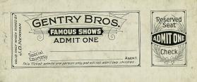 Gentry Bros.: Reserved Seats Ticket
