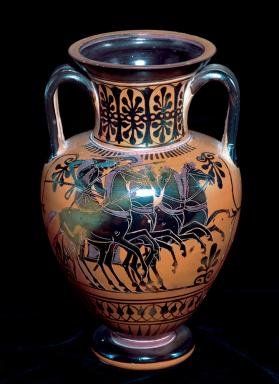 Amphora Depicting a Chariot, Two Warriors, an Old Man and a Woman