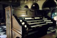 View of the organ console showing the keyboard. The organ console is situated within Cà d'Zan's Court.