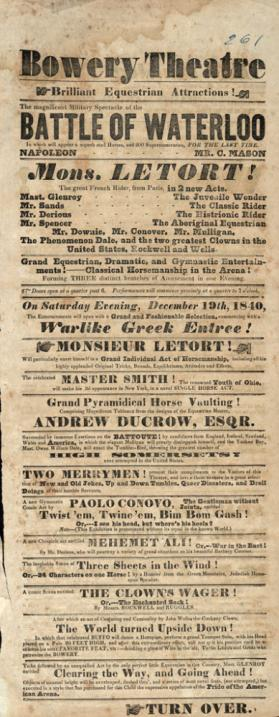 Bowery Theatre: December 19, 1840
