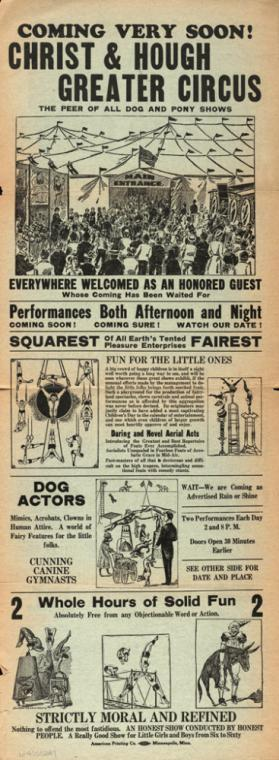 Chris & Hough Greater Circus 1926