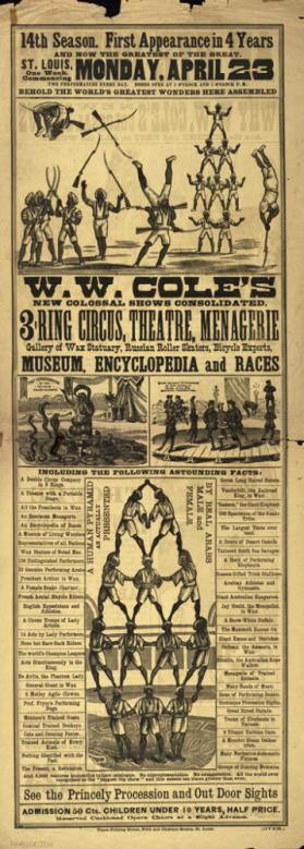 W.W. Cole's New Colossal Shows Consolidated. 3 Ring Circus, Theatre, Menagerie, Gallery of Wax Statuary, Russian Roller Skaters, Bicycle Experts, Museum, Encyclopedia and Races