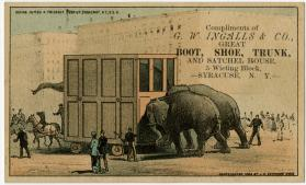 Giving Jumbo a friendly push up Broadway, N.Y. U.S.A.: G.W. Ingalls & Co