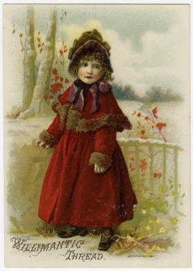 Young girl in red coat: Willimantic Thread