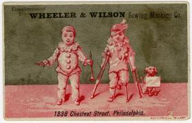 Child clown with oboe and clown on crutches: Wheeler & Wilson