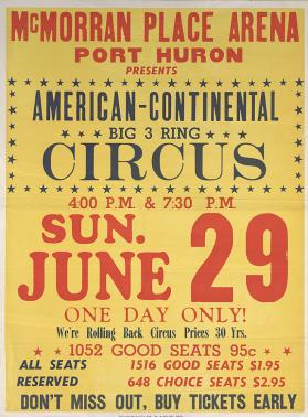 American Continental Circus: Title and Date Sheet