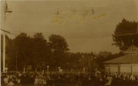 High wire act above a crowd