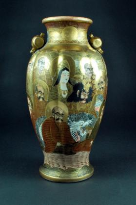 (Satsuma Tea Set) Vase with Bodhisattva of the South Sea and Arhats