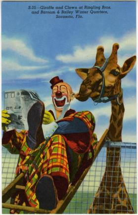 Giraffe and Clown at Ringling Bros. and Barnum & Bailey Winter Quarters, Sarasota, Fla.
