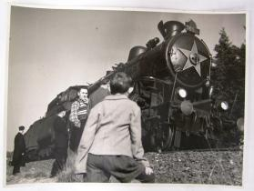 Boy and Three Men Stand Beside Freedom Train
