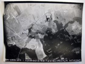 Aerial view of the bombing of a Luftwaffe base in Rechlin, Germany, September 25, 1944 by the 486th Bombardment Group