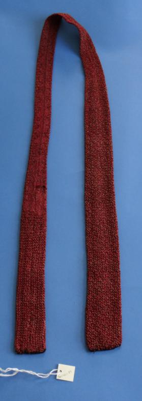 Brown and Red Crochet Knit Silk Tie
