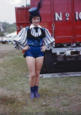 Female Performer in Blue and White Costume