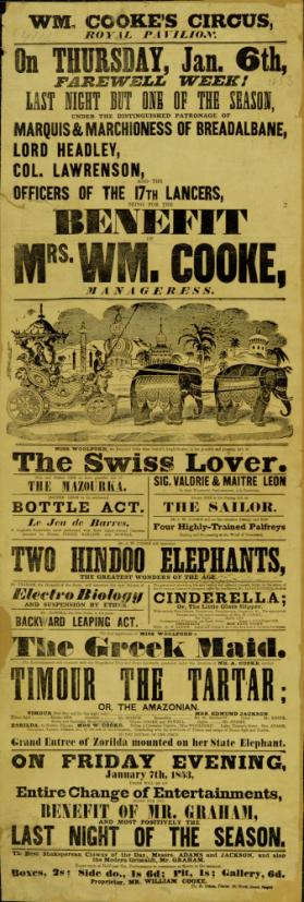 Playbill for Wm Cooke's Circus, Royal Pavilion, Brighton. January 6, 1853