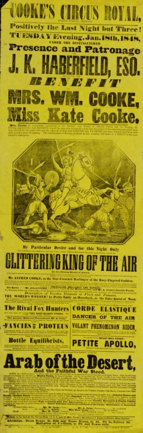 Playbill for Cooke's Circus Royal, Bristol. January 18, 1848