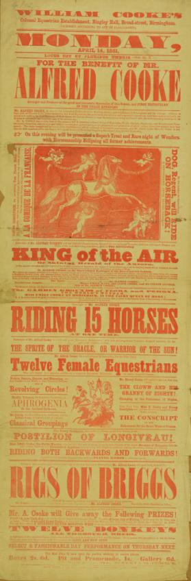 Playbill for William Cooke's Colossal Equestrian Establishment. April 14, 1851
