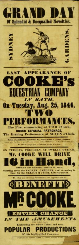 Playbill for Cooke's Equestrian Company, Sydney Gardens, Bath. August 25, 1846.