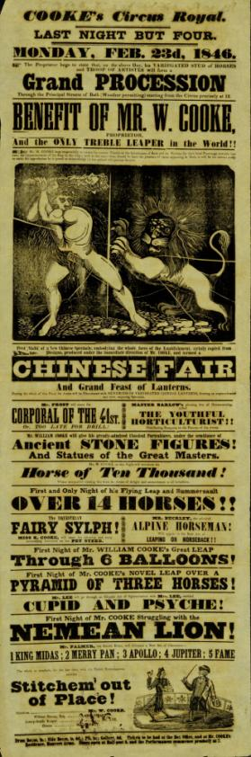 Playbill for Cooke's Circus Royal, Bath. February 23, 1846