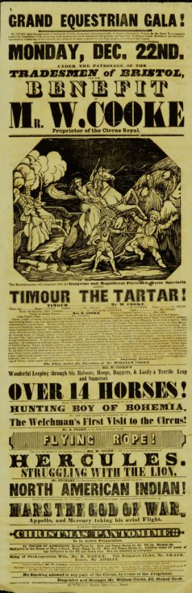 Playbill for Cooke's Circus Royal, Bristol. December 22, 1845