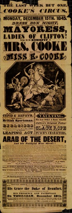 Playbill for Cooke's Circus, Bristol. December 15, 1845