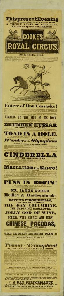 Playbill for Cooke's Royal Circus. October 26, 1840 (possibly 1846)