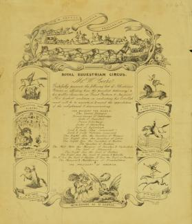 Announcement for Royal Equestrian Circus of Mr. W. Cooke. 1846