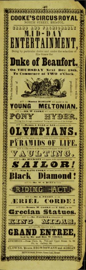 Playbill for Cooke's Circus Royal, Bristol. December 18, 1845