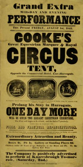 Playbill for William Cooke's Great Equestrian Marquee and Royal Circus Tent. August 1, 1845