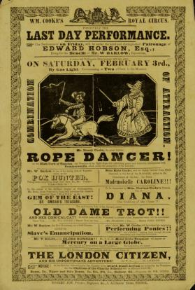 Playbill for William Cooke's Royal Circus. February 3, 1844 (Maybe 1849)