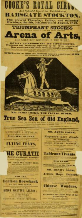 Playbill for Cooke's Royal Circus. August 4, 1842