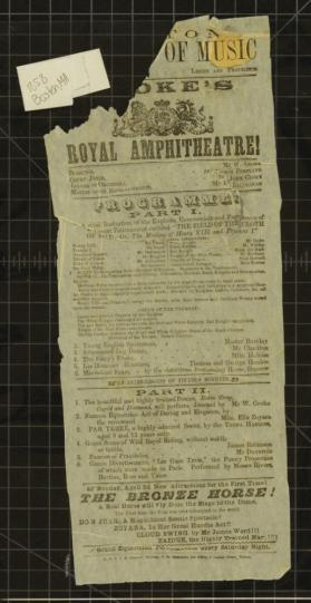 Playbill for Cooke's Royal Amphitheatre, Boston Academy of Music. April, 1858