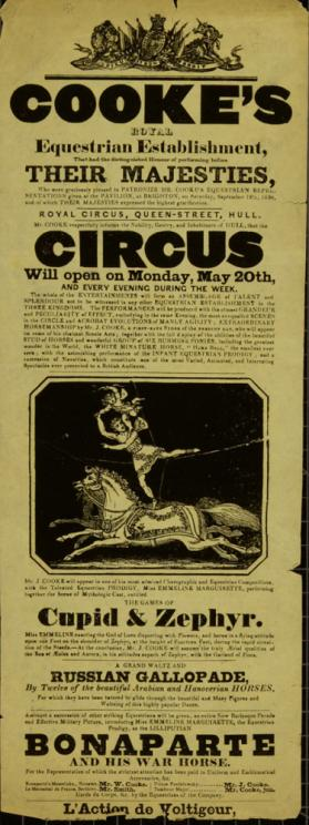 Playbill for Cooke's Royal Equestrian Establishment. May 20, 1830