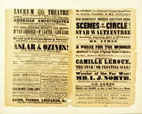 Matted Playbill for Lyceum Theatre afixed with Print of Van Amburgh with the Lions. Bill from January 19, 1843