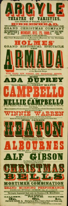 Playbill for Argyle Theatre, Birkenhead. 1889.